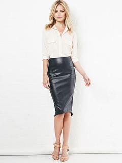 Black Bodycon Skirt Women's PU Slit Slim Fit Sheath Skirt
