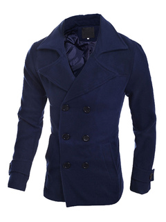 Men's Pea Coat Dark Navy Double Breasted Center Vent Cuff Strap Lined Casual Coat