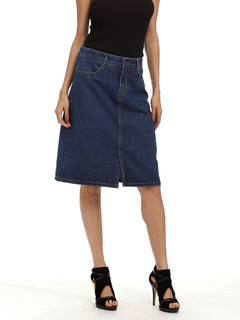 Women's Denim Skirt Deep Blue Cowboy Style Knee Length Slit A Line Skirt