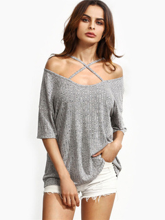 Women's Cotton T Shirt Light Grey Off The Shoulder Cross Front Half Sleeve Casual Top
