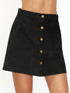 Women's Black Skirt A Line Front Button Pana Short Skirt