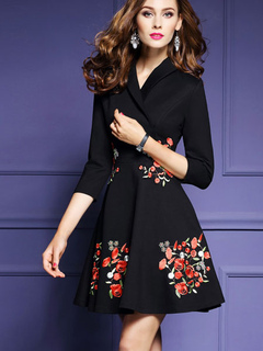 V Neck Black Dress Flowers Embroidered Women's 3/4 Sleeve A Line Fit And Flare Skater Dress