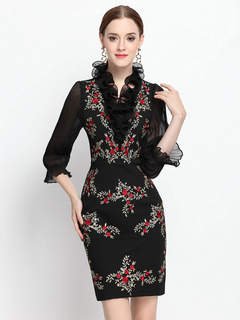 Black Bodycon Dress Half Sleeve Embroidered Ruffle Party Dress