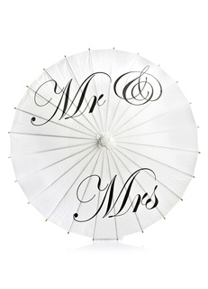 Wedding Bridal Umbrella White Handmade Wood Straight Handle Oil Paper Parasol