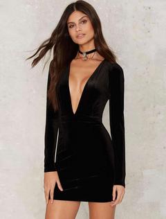 Sexy abito Bodycon velluto nero V collo manica lunga Slim Fit Abito corto b7c9d04dff7