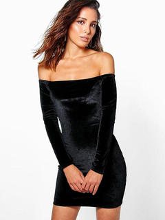 Black Bodycon Dress Velvet Off The Shoulder Long Sleeve Slim Fit Short Dress