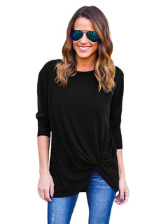 Long Sleeve T Shirt Black Round Neck Pleated Casual Top For Women