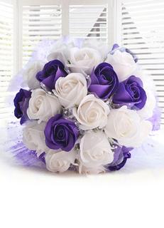 Wedding Flowers Bouquet Purple Ribbons Bow Hand Tied Silk Flowers Bridal Bouquet