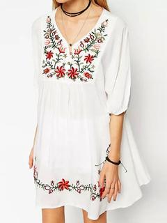 White Summer Dress Plus Size Ethnic V Neck Half Sleeve Embroidered Shift Dress