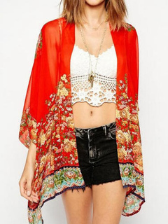 Boho Cover Up Chiffon Red Floral Printed 3/4 Length Sleeve Beach Swimwear For Women