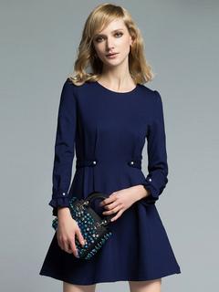 Women's Skater Dress Deep Blue Round Neck Ruffle Long Sleeve Studded Slim Fit Pleated Short Dress