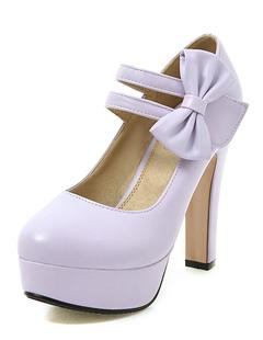 Mary Jane zapatos zapatos de tacón de plataforma ovalada púrpura arco 5e1293d02b10