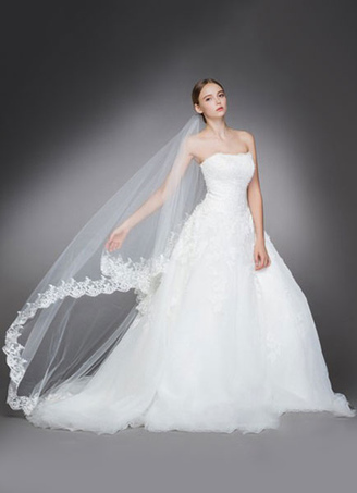 Cathedral Comb Wedding Veil White Tulle Oval Lace Applique Edge Bridal Veils