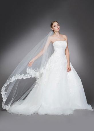 b7c50cec13 Peine de catedral boda velo tul blanco Oval encaje apliques borde velos de  novia