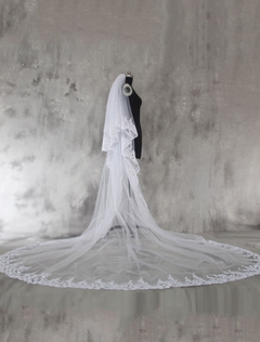 White Wedding Veil Cathedral Lace Applique Edge Bridal
