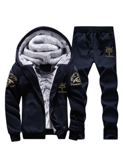 Black Sweat Suit Lined Printed Men's Zip Up Hoodie Drawstring Waist Long Pants 2 Piece Set