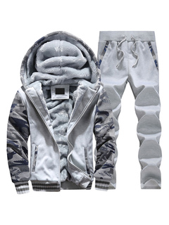 Lined Sweat Suit Men's Camo Printed Zip Up Hoodie Drawstring Waist Jogger Pants 2 Piece Set