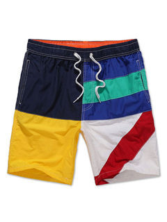 Men's Swim Shorts Color Block Drawstring Waist Summer Beach Board Shorts