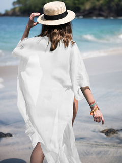 147e5173a2fea Chiffon Cover Ups Boho Half Sleeve Front Open Beach Wear For Women