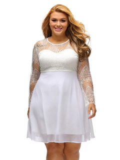 Plus Size Dress Women's White Lace Long Sleeve Oversized Skater Dress