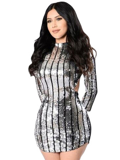 Sequin Club Dress Sexy Silver Grey Backless Bodycon Mini Dress For Women