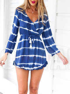 Short Bohemian Dress Lace Patchwork Long Sleeve Blue Striped V Neck Flare Beach Dress With Drawstring