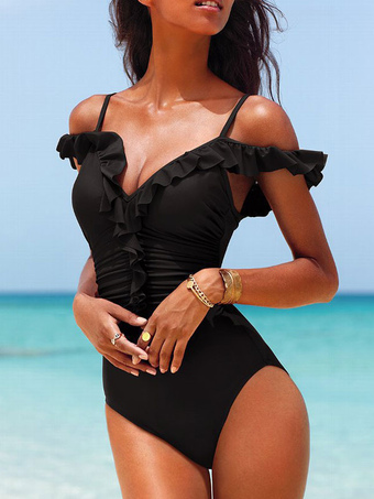 One Piece Swimsuits Black Straps Ruffled Sexy Beach Bathing Suits