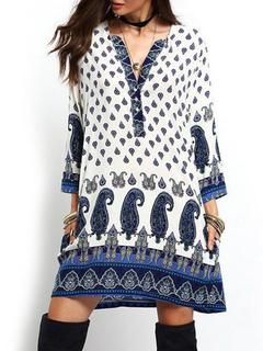 Boho Dress Women's V Neck Paisley Printed Long Sleeve Oversize Beach Dress