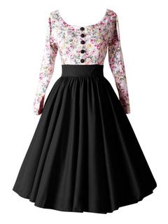Women's Vintage Dress Floral Printed Black Contrast Color Front Button Pleated Round Neck A Line Retro Dress