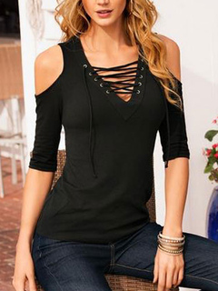 Black T Shirt Open Shoulder Lace Up Sexy Top For Women