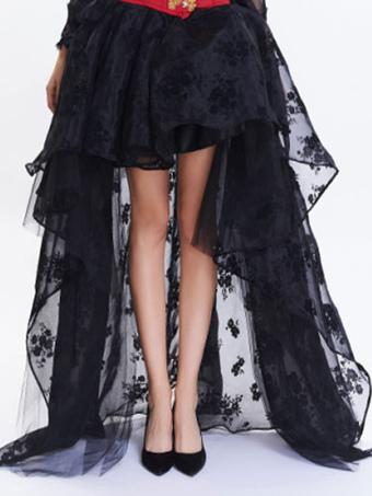 Black Women's Skirt High Low Jacquard Organza Short Skirts