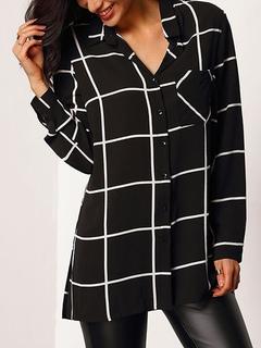 Chiffon Black Blouse Women's Plaid Turndown Collar Long Sleeve Slit Casual Shirt