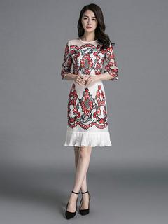 White Party Dress Silk Round Neck Half Sleeve Floral Embroidered Ruffle Hem Slim Fit Dress