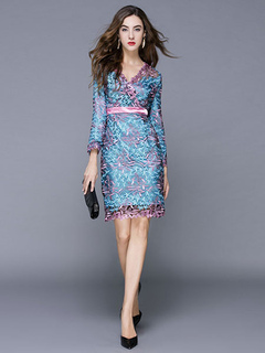 Blue Party Dress V Neck Lace Tulle Embroidery Floral Print 3/4 Sleeve Bodycon Dress