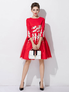 Red Party Dress Round Neck Half Sleeve Floral Embroidered Skater Dress For Women