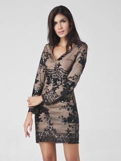 Black Short Dress Women's V Neck Long Sleeve Skin Fit Bodycon Dress