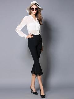 Black Flare Pants Women's Lace Patchwork Irregular Hem Elegant Cropped Pants
