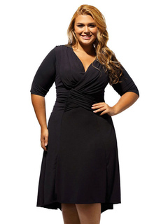 Plus Size Dress Black V Neck Women's Half Sleeve Ruched Skater Dress