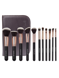 Rose Gold Soft Synthetic Makeup Brushes Set In 11 Pcs