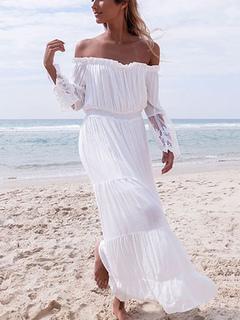 White Maxi Dress Chiffon Off The Shoulder Long Sleeve Pleated Long Dress