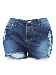 Blue Ragged Shorts Women's Denim Ripped Distressed Washed Short Jeans
