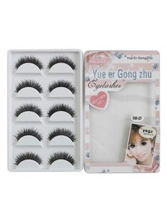 Handmade Fake Eyelashes 5 Pairs Black Thick Curly Eyelash Compact
