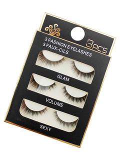Black False Eyelashes 3 Pairs Thick Curly Natural Eyelashes In Varied Designs