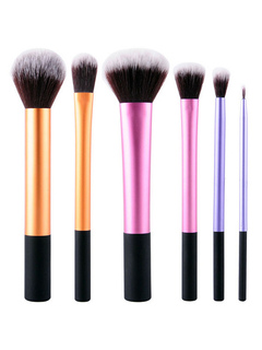Multicolor Brush Set 6 Pieces Synthetic Fibers Beginners' Makeup Brushes