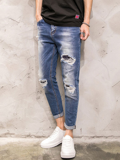 Men's Ripped Jeans Blue Washed Distressed Denim Cropped Pencil Pants