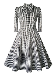 Vintage Black Dress Plaid Bow Collar Women's 3/4 Sleeve Front Button Flare Retro Dress