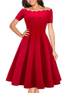 Populaire robe vintage moderne unicolore plissée hors de l épaule pour  plein air f4b812a850b