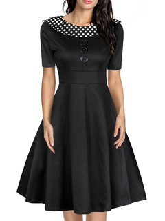 Vintage Black Dress Women's Polka Dot Round Neck Short Sleeve Flare Retro Dress