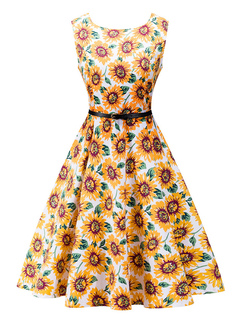 Floral Vintage Dress Yellow Women's Round Neck Sleeveless Sunflowers Printed Flare Retro Dress
