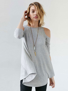 Women's Grey T Shirt Jewel Neck Half Sleeve Cold Shoulder Asymmetrical Top